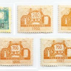 România, lot 188 cu 9 timbre fiscale tv, NG/MNH