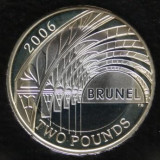 Moneda jubiliara Anglia - 2 lire 2006 - BRUNEL (2), Europa, Cupru-Nichel