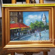 33 Peisaj urban, Pictura multicolora cu culori vii, Tablou urban 39x30 cm