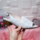 Sandale Raissa albe cu toc-rl