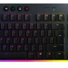 Tastatura mecanica gaming Logitech G915, Ultraslim, Lightspeed Wireless, Lightsync RGB, Switch Clicky (Negru)