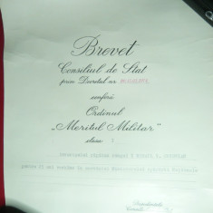 Brevet -Meritul Militar cl.I -Capitan rang I Marina Militara semnat N.Ceausescu