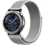 Curea ceas Smartwatch Samsung Gear S3, iUni 22 mm Soft Nylon Sport, White Gray
