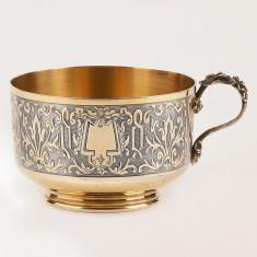 Superba ceasca,cana mare din argint masiv 950,aurit,Franta sec 19,ionizare apa!