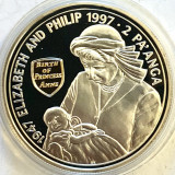 TONGA 2 PA'ANGA 1997,PROOF,GOLDEN WEDDING ANNIVERSARY,AG.925+AUR 22 CT.CAMEO