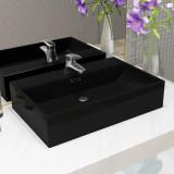 Cumpara ieftin Chiuvetă baie, orificiu robinet, ceramică 76x42,5x14,5 cm negru