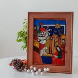 Icoană pictată pe sticlă- Nasterea lui Iisus( Nicula, sfarsit sec. XVIII )