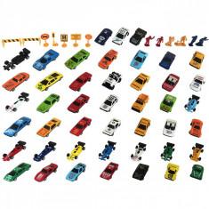 Set 45 de masinute de jucarie 6 figurine si 7 semne de circulatie, lungime masinuta 7 cm, metal