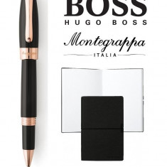 Set Fortuna Black Rose Gold Rollerball Montegrappa si Note Pad Hugo Boss