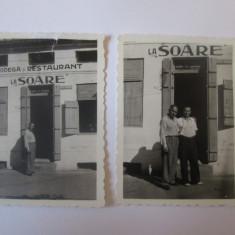 Lot 2 mini fotografii 57x43mm Bodegă și Restaurant La,,Soare'' Constanta 1946