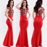 Rochie de seara lunga rosie cu corset dantelat