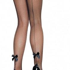 Ciorapi dama plasa - negru - cu panglica