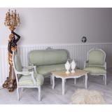 Set baroc din lemn gri antichizat cu tapiterie din matase verde CAT381K44, Sufragerii si mobilier salon