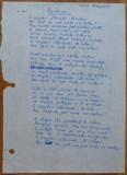 Prietenie ... ; Poezie manuscris de poetul si scriitorul Mihu Dragomir