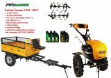Pachet motocultor Campo 1853, benzina, EURO5, 18CP, 2+1 trepte, remorca 500kg, ulei motor si transmisie incluse, Progarden