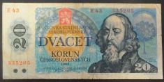 Bancnota 20 Coroane / Korun - RS Cehoslovacia, anul 1988 *cod 205 foto