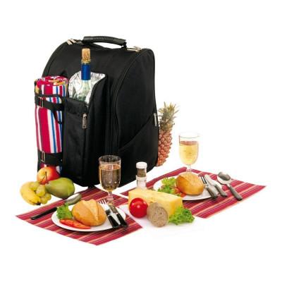 Rucsac pentru picnic, 2 persoane, negru, rosu, Everestus, CP09DO, poliester, saculet de calatorie si pastila racire incluse foto