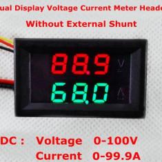 Voltmetru si Ampermetru digital 100 V 100 A rosu - verde