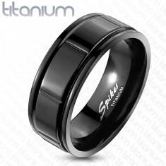 Inel negru din titan - design cu caneluri - Marime inel: 67