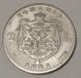 Moneda Romania - 2 lei 1881 argint