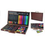 Cumpara ieftin Trusa desen si pictura 81 elemente, carioci, creioane, acuarele, valiza din lemn, Malatec