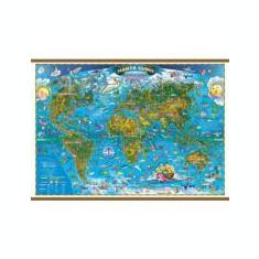 Harta lumii pentru copii 1600x1200 mm, cu sipci (GHLCP160)