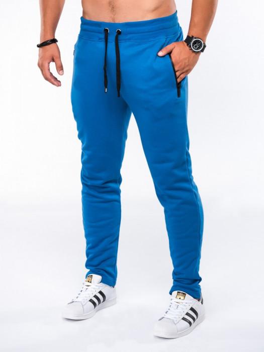 Pantaloni barbati, albastru, slim, cu banda, siret si buzunare - P549
