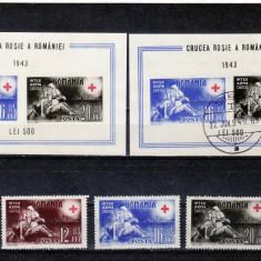 1943    Crucea rosie  serie +colita nestampilata  + colita stampilata