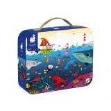 Puzzle in cutie - Lumea subacvatica - 100 de piese, Janod J02947