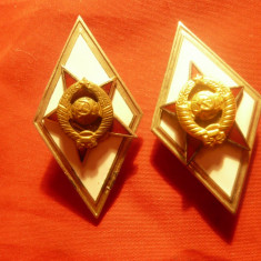 2 Insigne vechi Academia Tehnica de Aparare URSS , grade diferite ,4,5cm