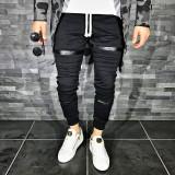 Pantaloni pentru barbati de trening negru conici banda jos cu siret alb fermoare decorative bumbac Z0008