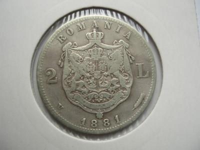 ROMANIA - 2 LEI 1881 , Ag835, CAROL I, LCP1.25 foto