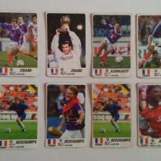 Lot 8 cartonașe fotbal - EURO 2000 - jucători din Franța (Deschamps, Zidane)