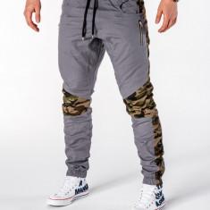 Pantaloni pentru barbati gri cu insertii de camuflaj stli militar army banda jos casual P387