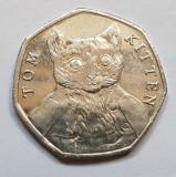 Monedă 50 pence 2017 Marea Britanie , Tom Kitten, Europa