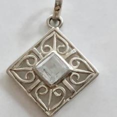 Argint PANDANTIV CU CRISTAL TRANSPARENT