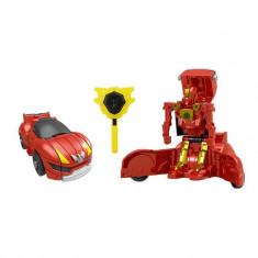 Robot de jucarie, model transformare in masina, rosu, 14x13x6 cm
