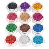 Sclipici Glitter Unghii Pulbere - Set 12 bucati