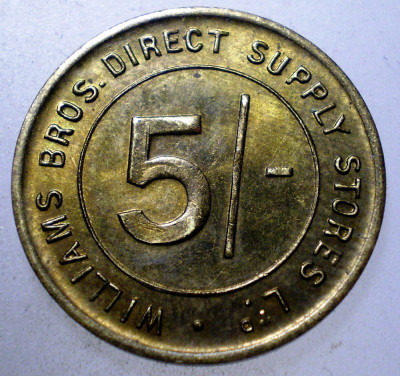 7.822 JETON U.K. WILLIAMS BROS. DIRECT SUPPLY STORES LTD. 5 SHILLINGS 22mm foto