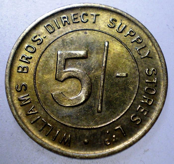 7.822 JETON U.K. WILLIAMS BROS. DIRECT SUPPLY STORES LTD. 5 SHILLINGS 22mm
