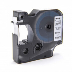 Schrumpfschlauch-kassette ersetzt dymo rs7w 12mm, schwarz auf weiß, ,
