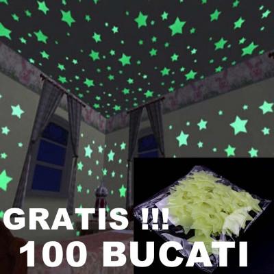 OFERTA ANIVERSARA! SET 100 STELUTE FOSFORESCENTE PT.CAMERA COPILULUI,GRATIS !!! foto