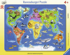 Puzzle Harta Lumii Cu Animale, 30 Piese foto