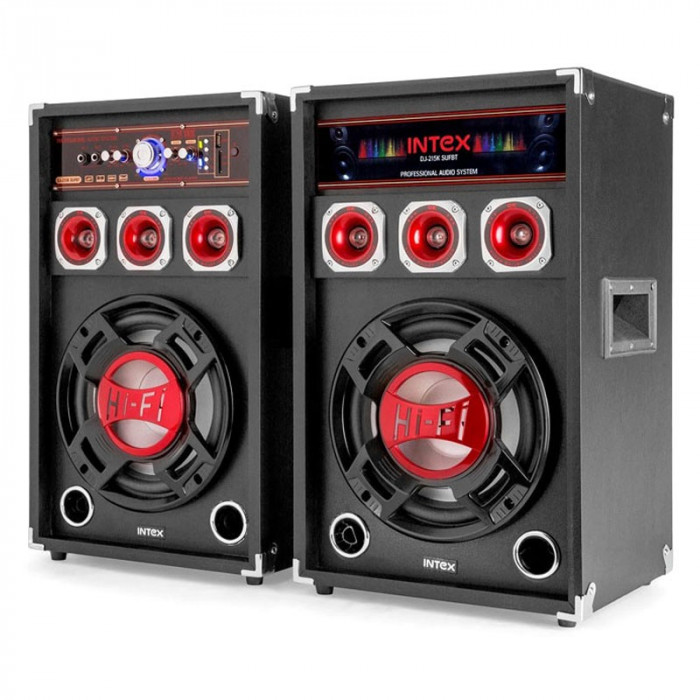 Set 2 boxe Intex, bluetooth, radio, USB, 2 x 60 W, microfon