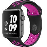 Cumpara ieftin Curea pentru Apple Watch 44 mm Silicon Sport iUni Negru-Roz