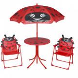 Set bistro pentru copii de grădină, cu umbrelă, 3 piese, roșu, vidaXL