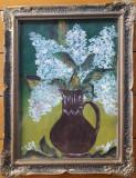 Tablou Cană cu flori – pictură pe hârtie, Tempera, Impresionism