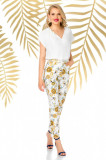 Pantaloni Pretty Girl ecru de vara cu print floral