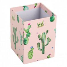 Suport din carton pentru pixuri si creioane, model cactus, 7x7x10 cm