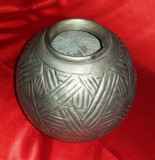 Vaza metalica, vintage, 15 cm